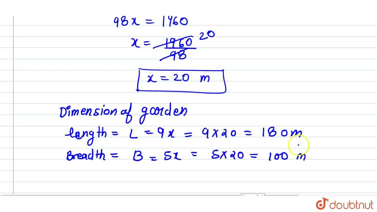 Solution for The length  and the breadth  of   rectangular  gar