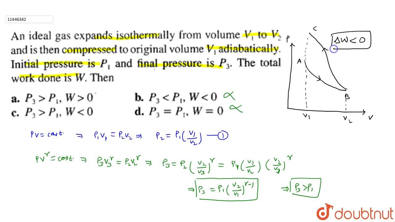 Solution for An ideal gas expands isothermally from volume V_(