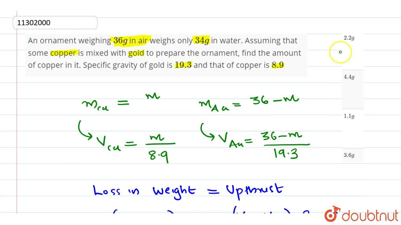 An ornament weighing 36 g in air weighs only 34 g in water. Assuming that some copper is mixed with gold to prepare the ornament, find the amount of copper in it. Specific gravity of gold is 19.3 and that of copper is 8.9