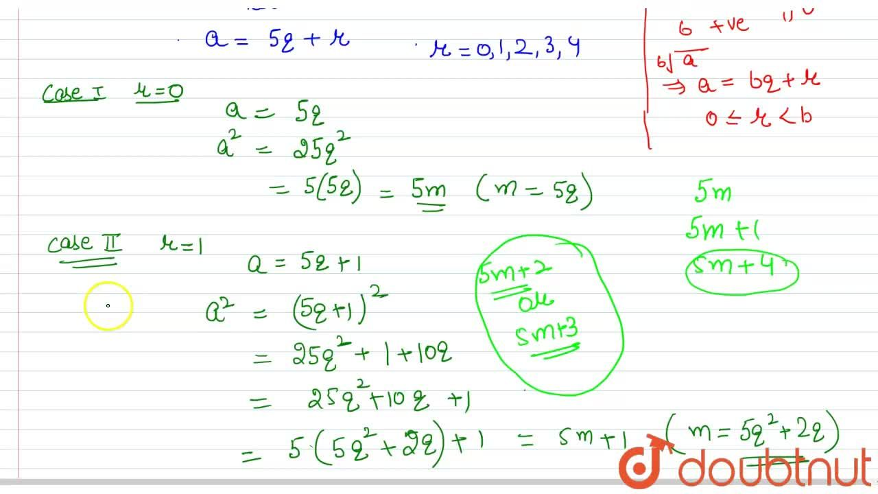 Solution for  Show that the square of any positive integer cann