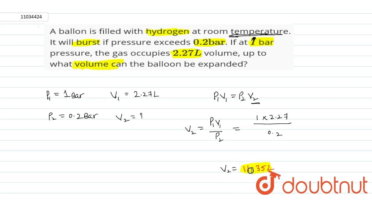 Solution for A ballon is filled with hydrogen at room temperatu