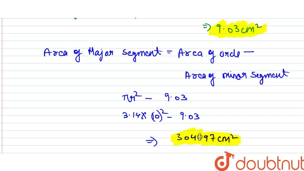 A chord PQ of a circle of radius 10 cm makes an angle of 60^(@) at the centre of the circle. Find the area of the major and the minor segment