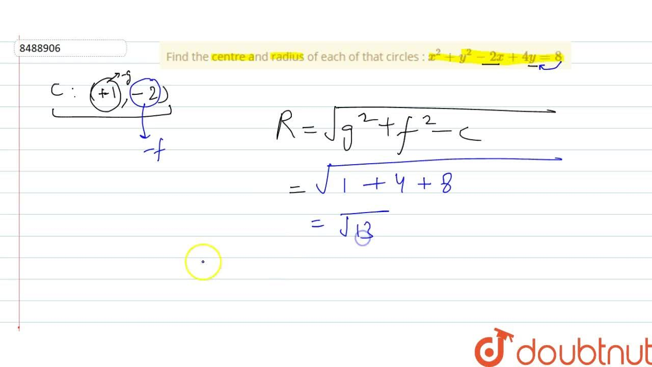 Solution for Find the centre and radius of each of that circles