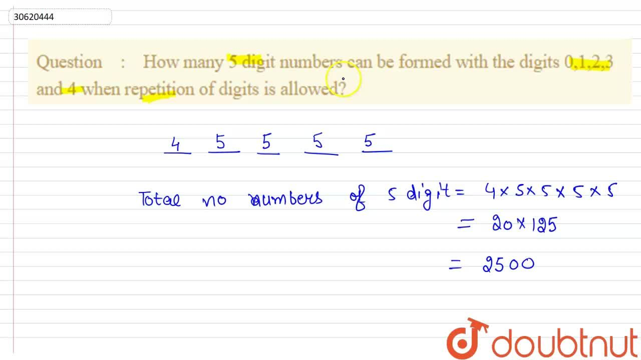How many 5 digit numbers can be formed with the digits 0,1,2,3 and 4 when repetition of digits is allowed?