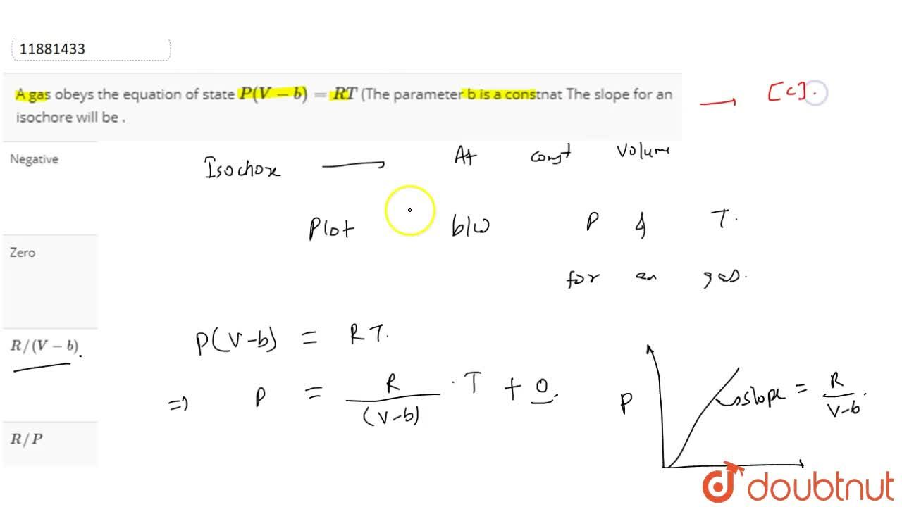 Solution for A gas obeys the equation of state P(V-b) =RT (Th