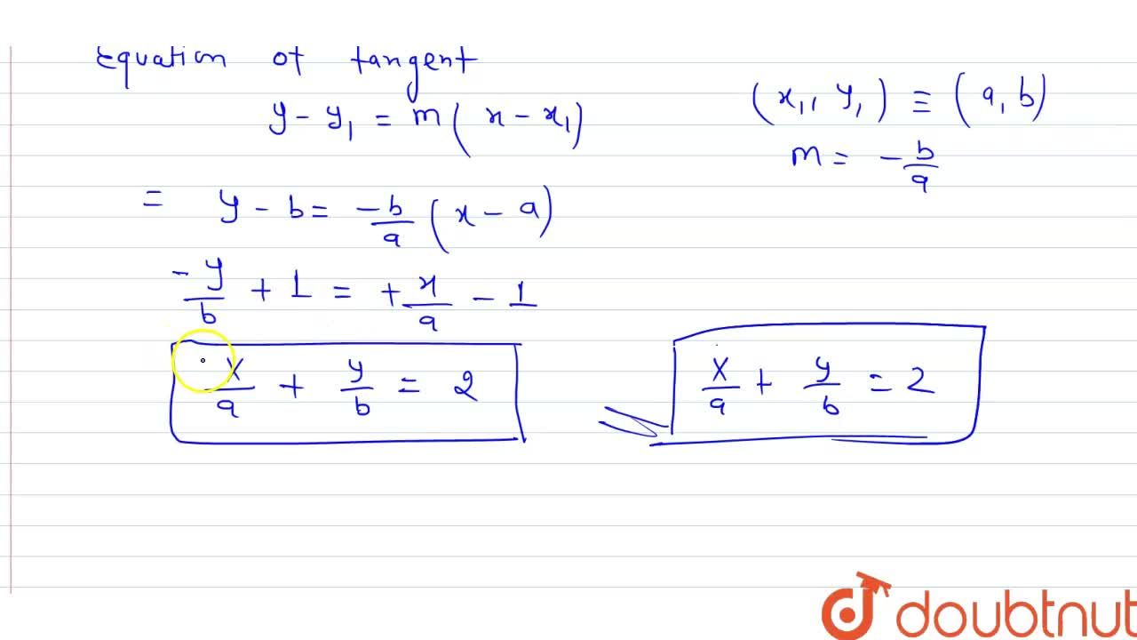 Solution for Prove that (x,a)^n+(y,b)^n=2 touches the straigh