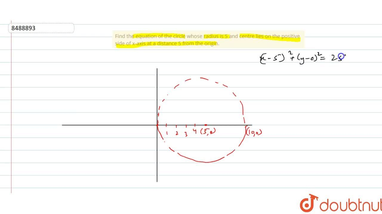 Solution for Find the equation of the circle whose radius is 5