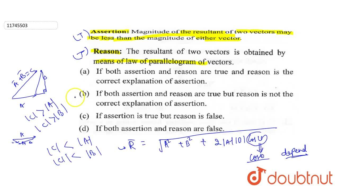 Solution for Asserion: Magnitude of the resultant of two vector