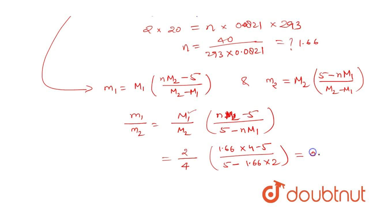 Solution for A vessel of volume V = 20 1 contains a mixture o