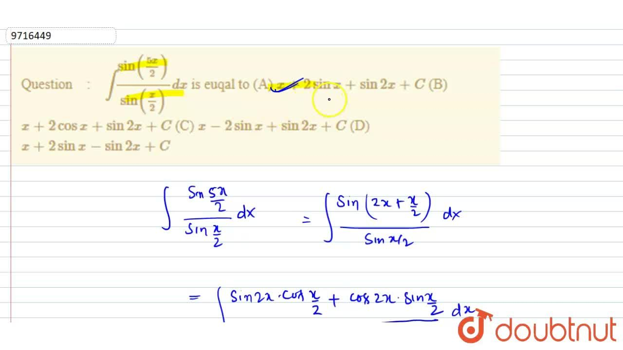 Solution for int(sin((5x),2)),(sin((x),(2))) dx is euqal to