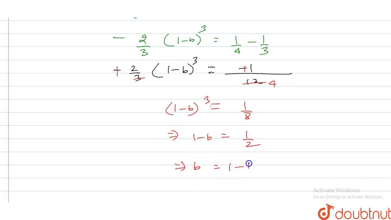 Solution for Let the straight line x=b divide the area enclos