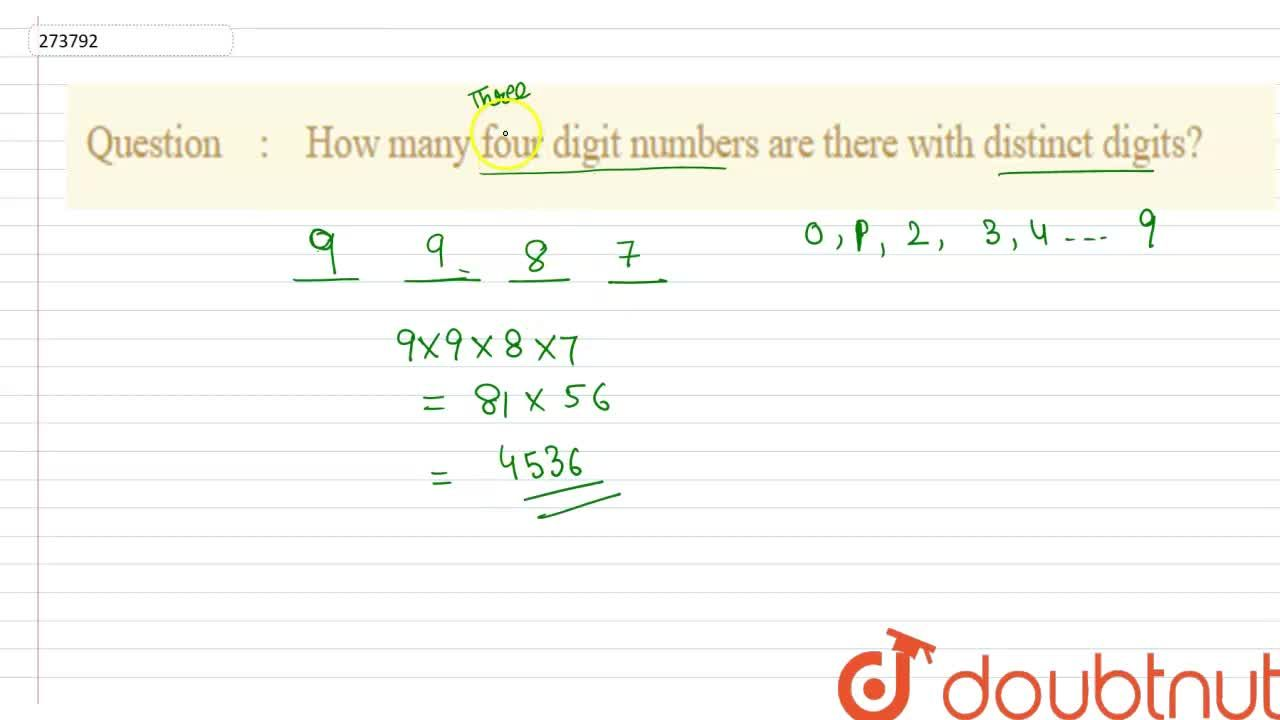 Solution for How many four digit numbers are there with distinc