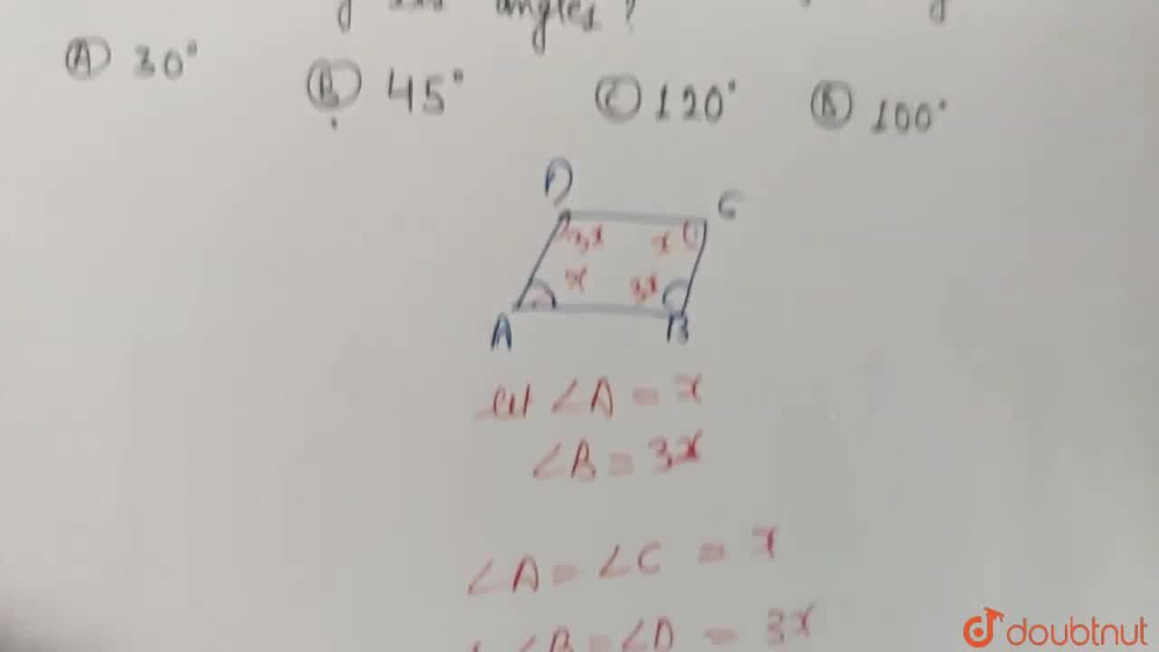 Solution for One angle of a parallelogram is thrice its adjacen