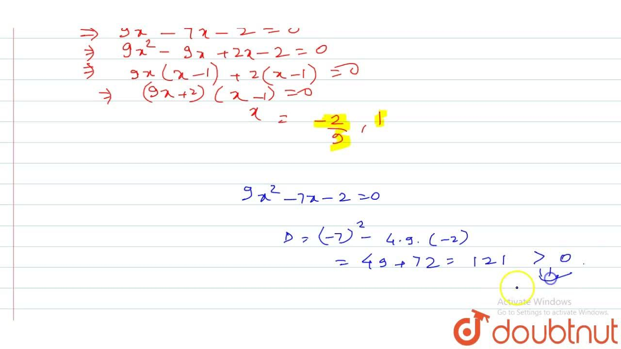 Solution for The number of real roots of 3^2x^2-7x+7=9 is (A)