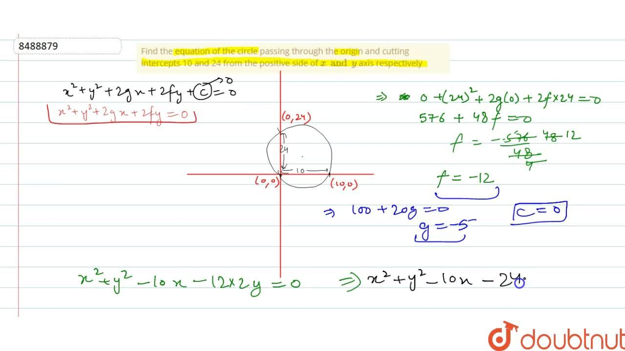 Solution for Find the equation of the circle passing through th