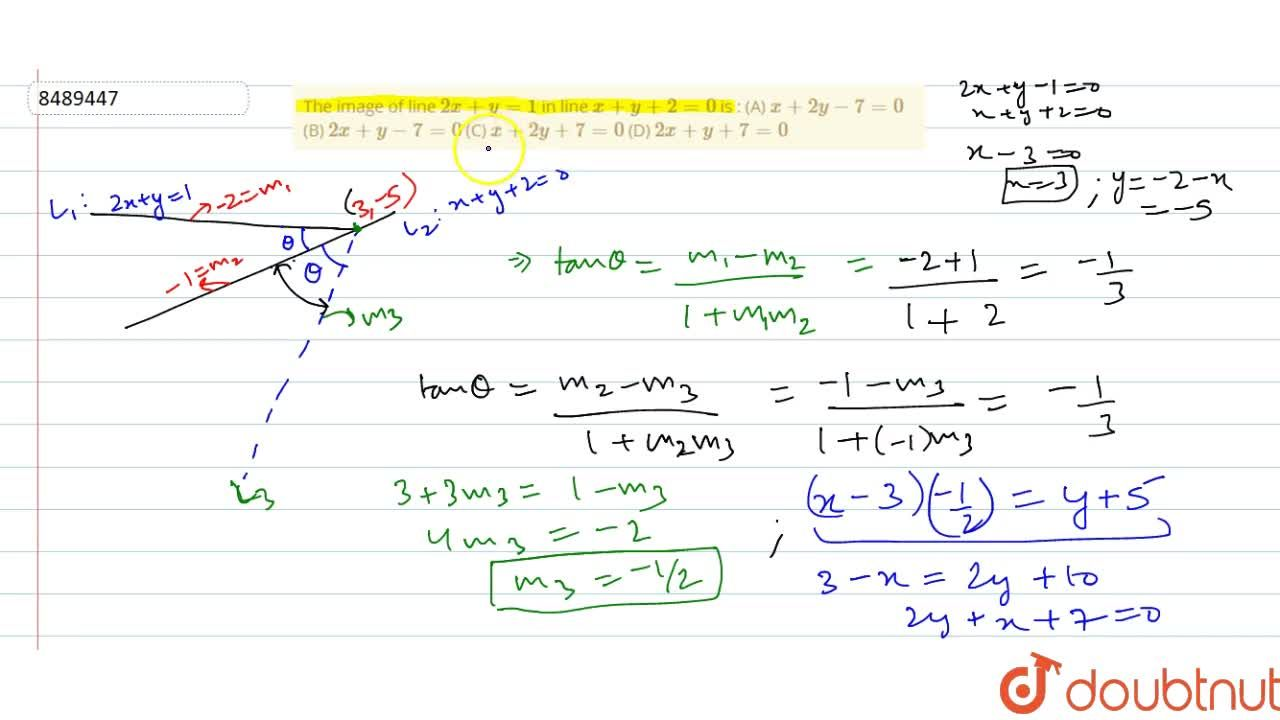 Solution for The image of line 2x+y=1 in line x+y+2=0 is :