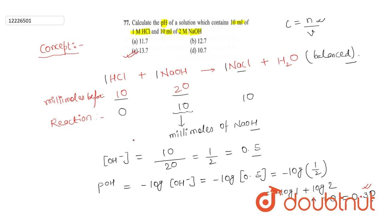 Solution for Calculate the pH of a solution which contains 1