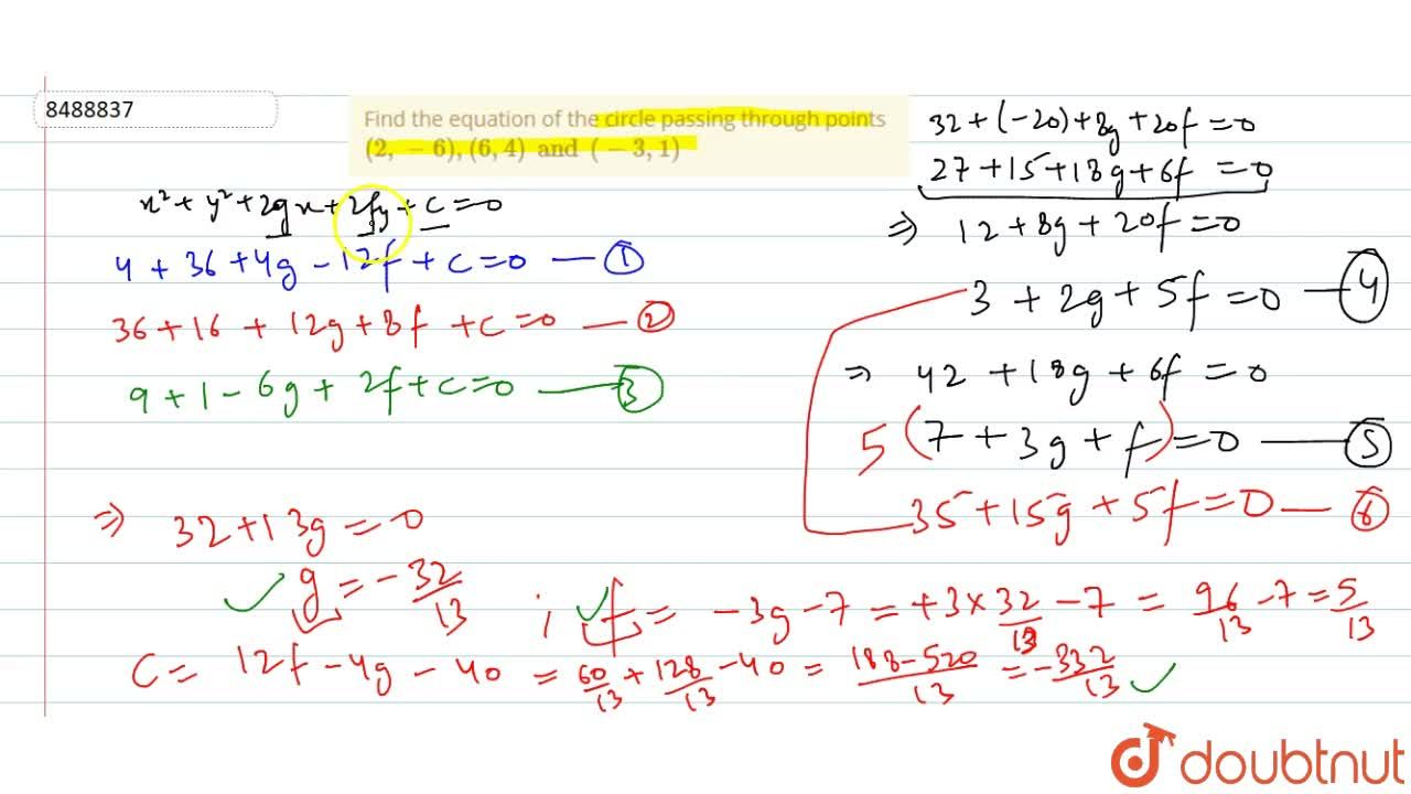 Solution for Find the equation of the circle passing through po