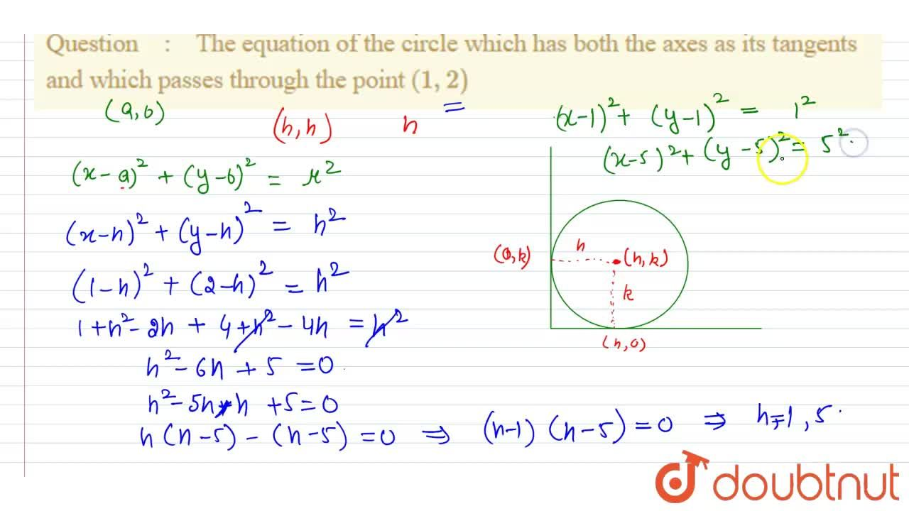 Solution for The equation of the circle which has both the axes