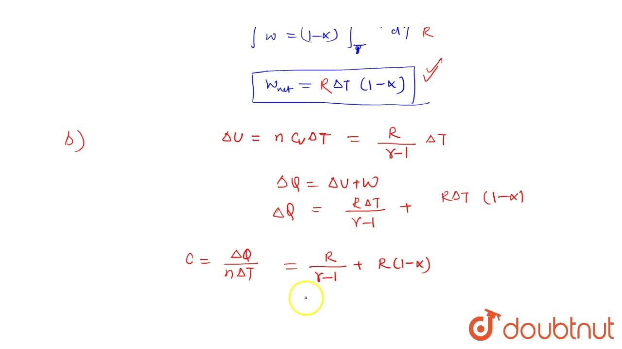 Solution for One mole of an ideal gas whose adiabatic axponent