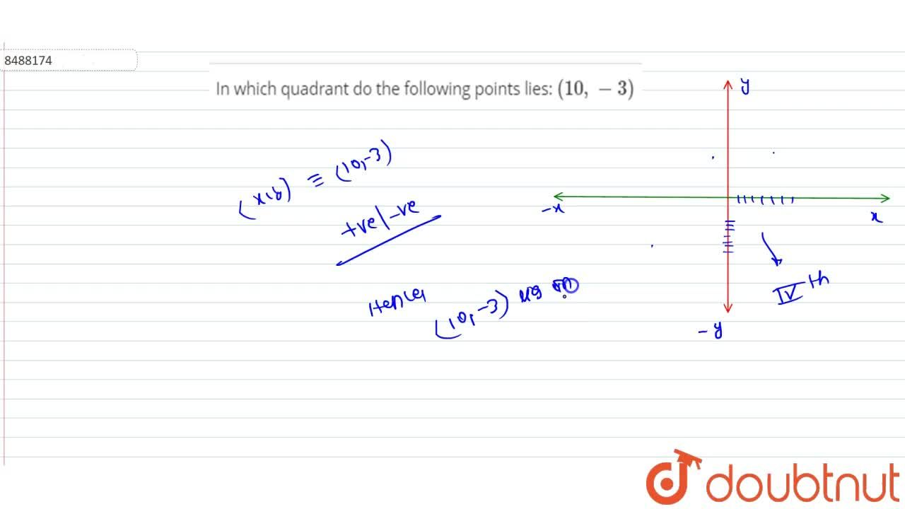 In which quadrant do the following points lies: (10, -3)
