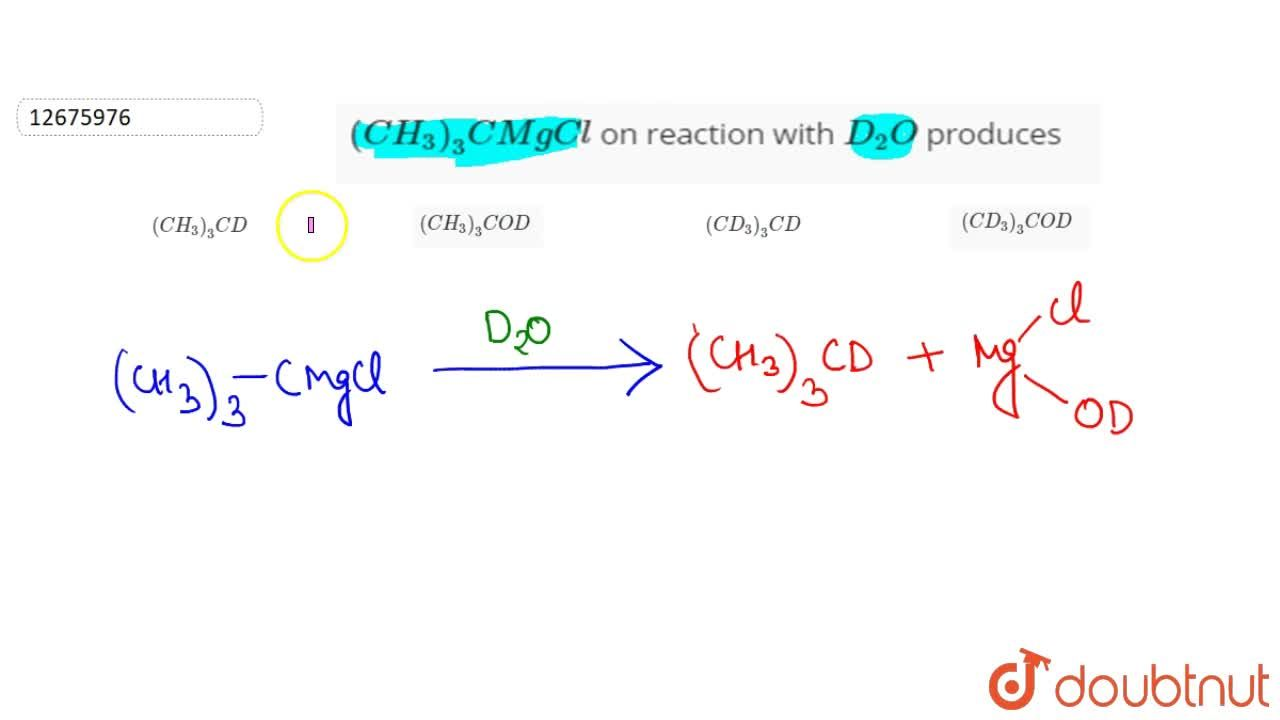 Solution for (CH_(3))_(3) CMgCl on reaction with D_(2)O pro
