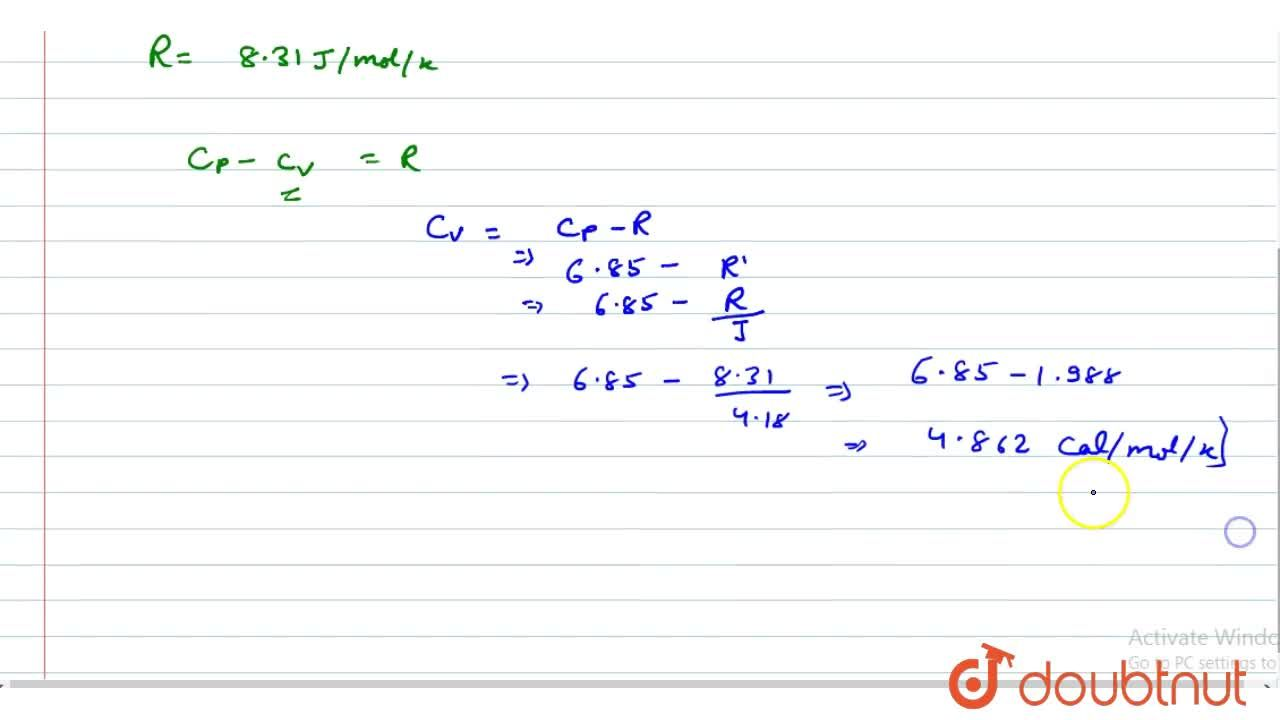 Solution for Calculate the specific heat capacity at constant v