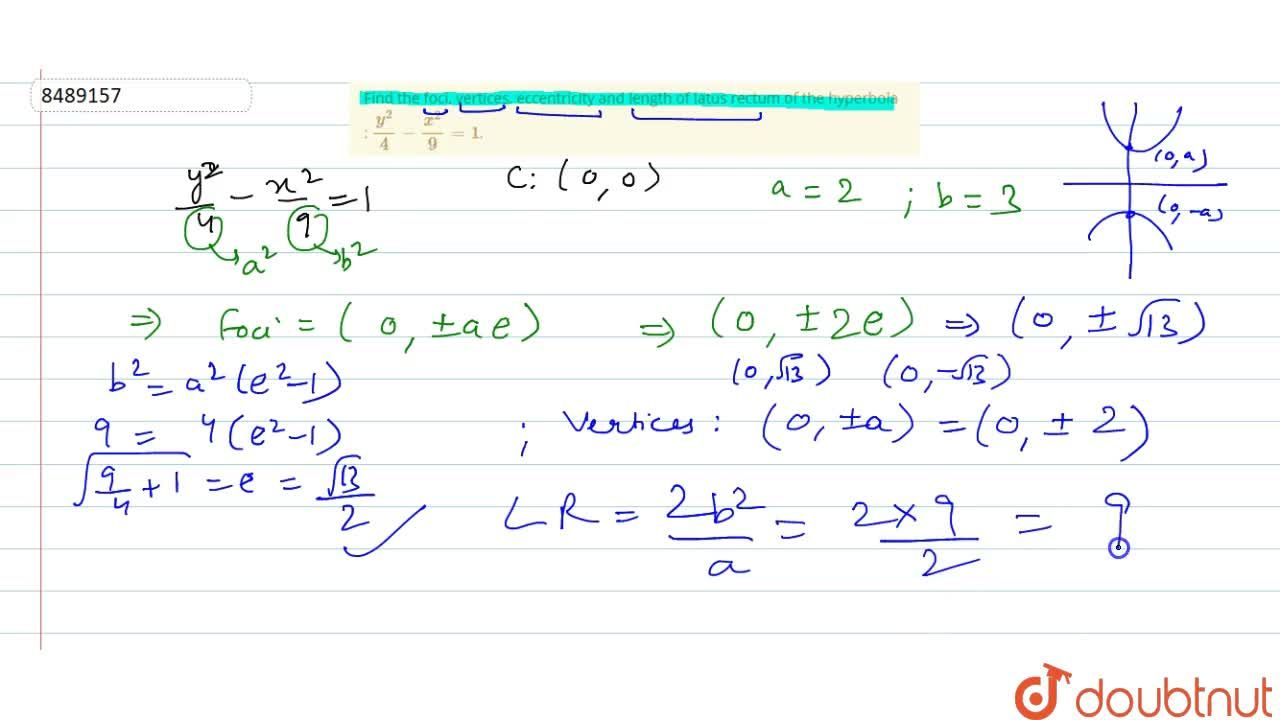 Solution for Find the foci, vertices, eccentricity and length o