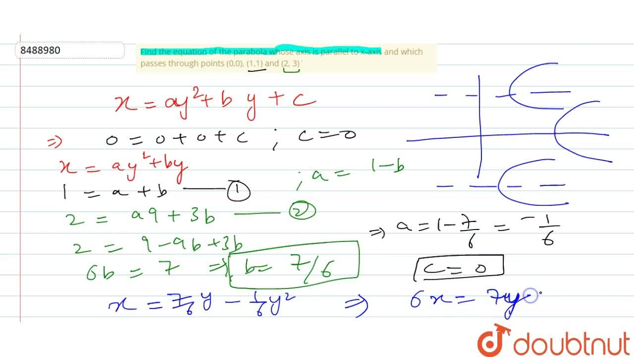 Solution for Find the equation of the parabola whose axis is pa