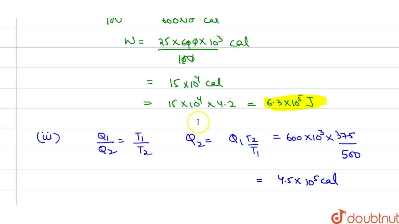 Solution for In a Carnot engine, the temperature of the source