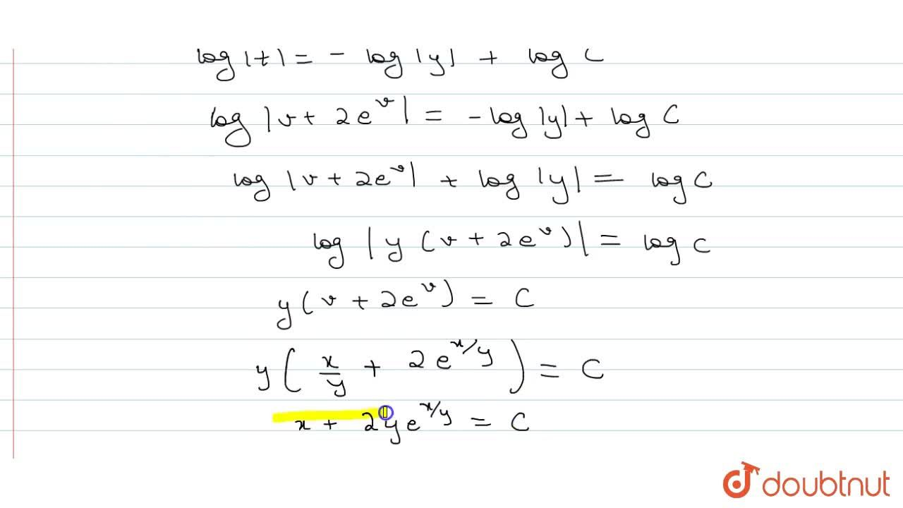 Solution for Solve: (1+2e^(x,y))dx+2e^(x,y)(1-x,y)dy=0