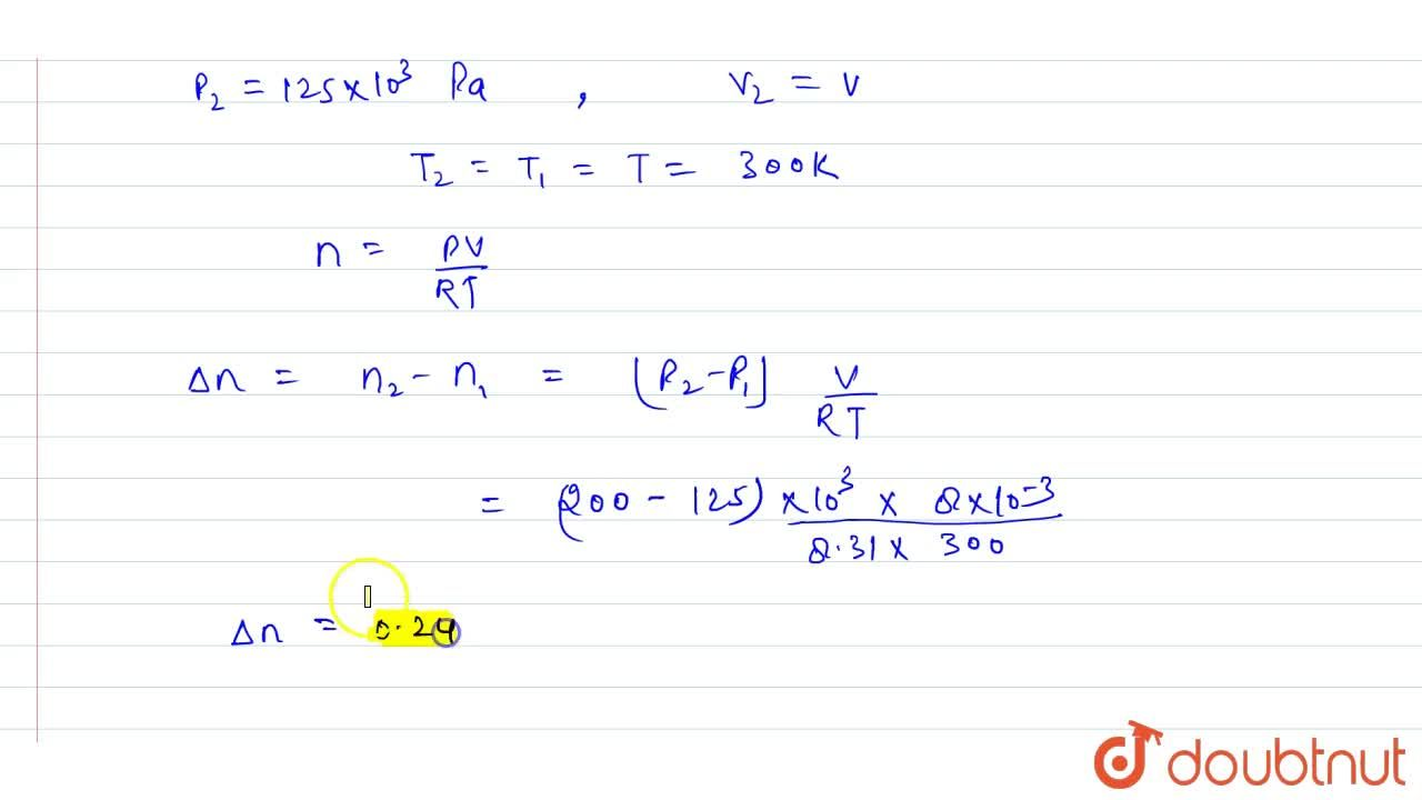 Solution for A vessel of volume 8.0 xx 10^(-3)m^(3) contains