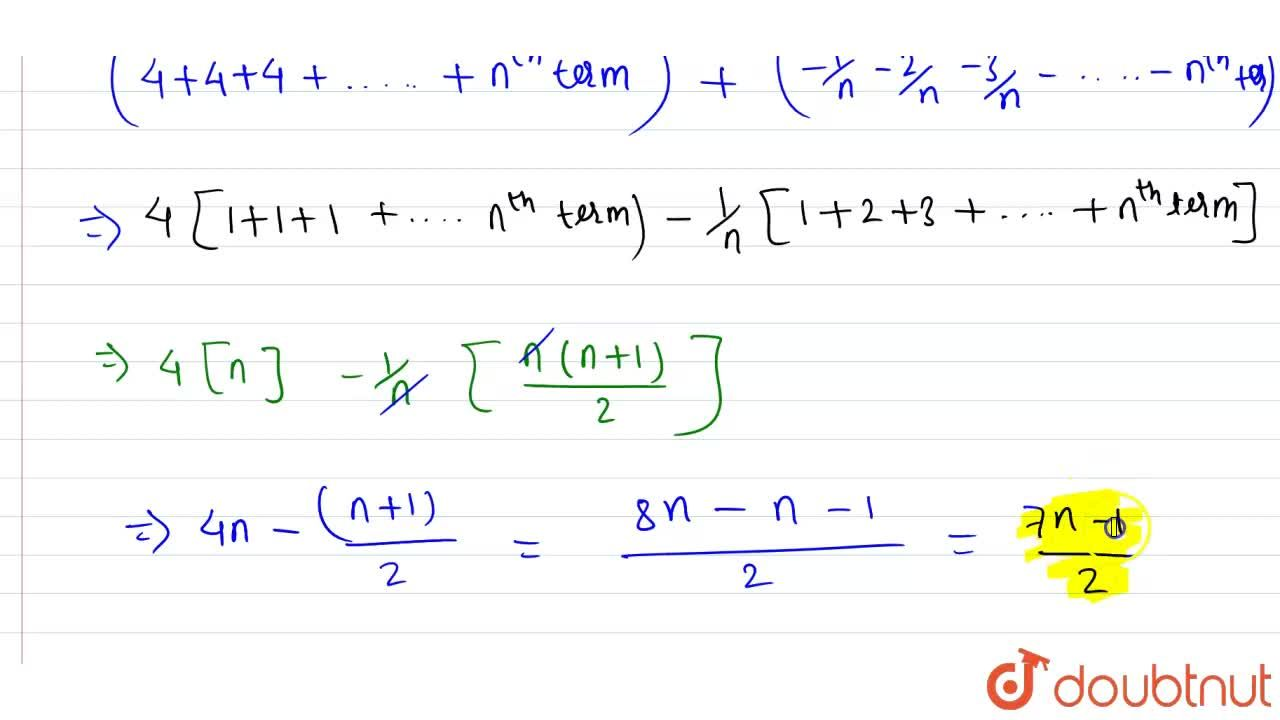 Solution for find the sum of n terms of the series (4-1,n)+(