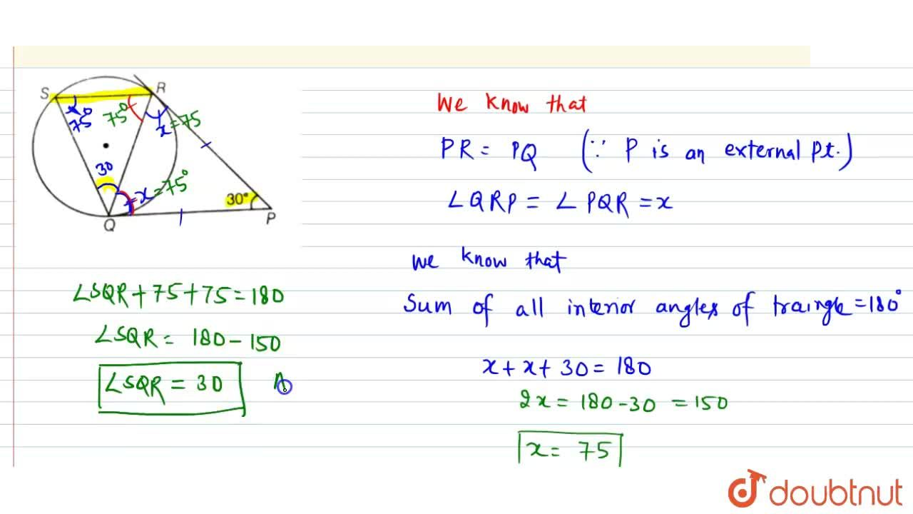 Solution for In figure, tangents PQ and PR are drawn to a circl