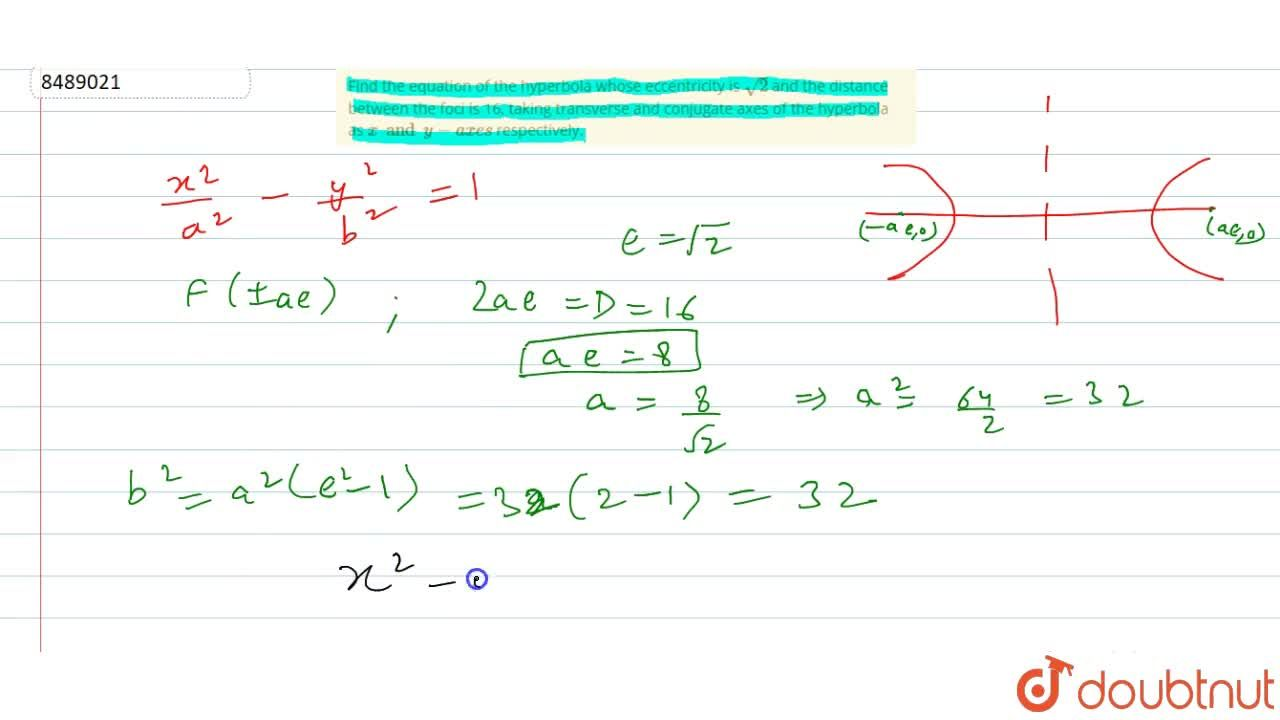 Solution for Find the equation of the hyperbola whose eccentric