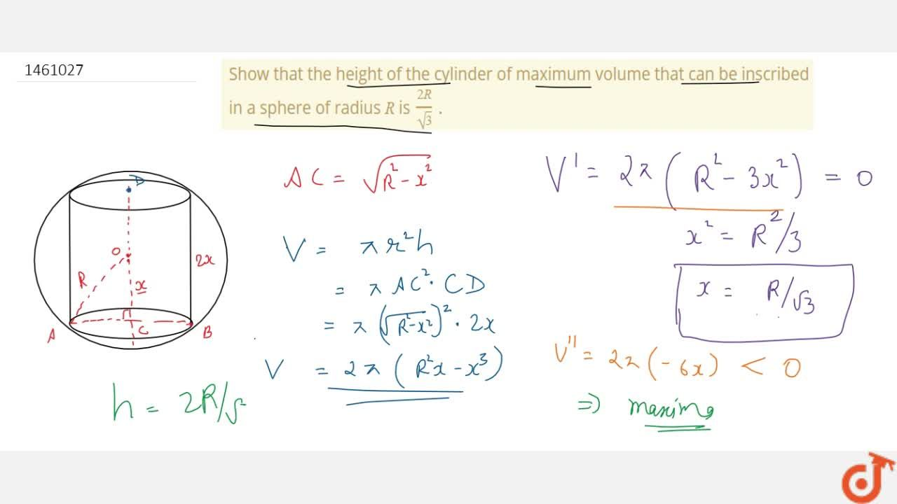 Solution for Show that the height of   the cylinder of maximum