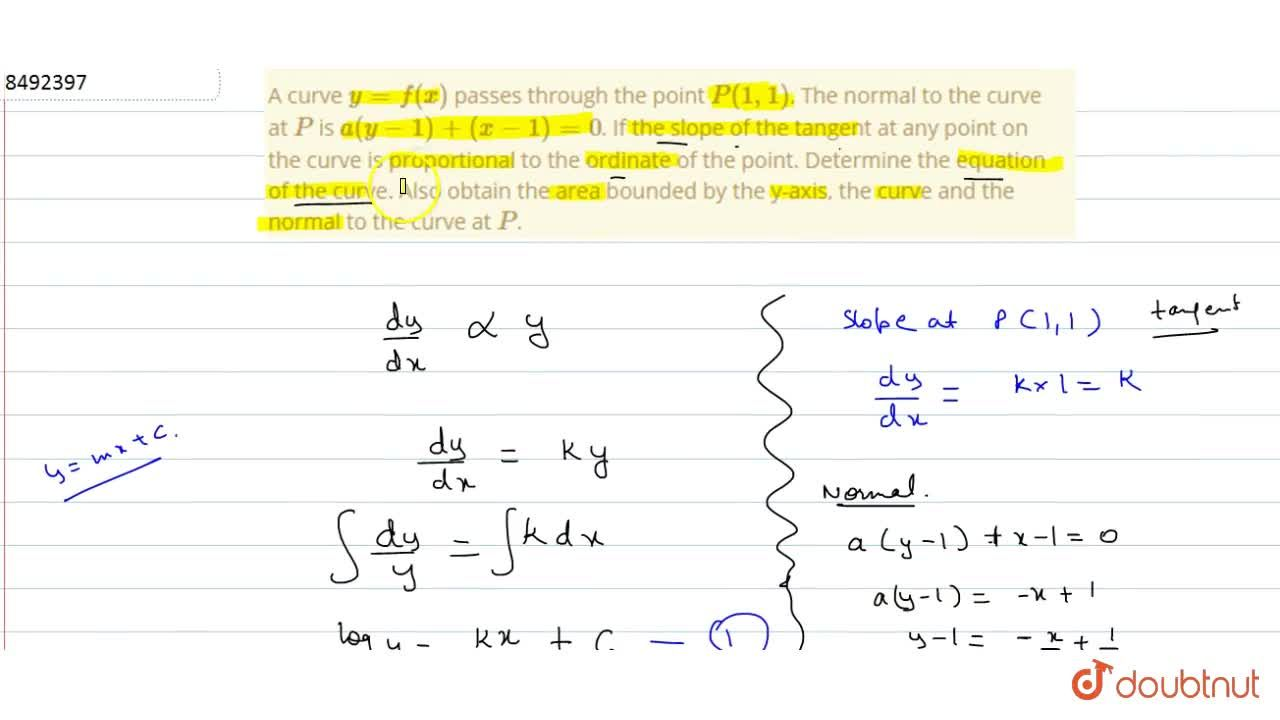 Solution for A curve y=f(x) passes through the point P(1,1)