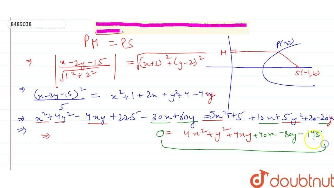 Solution for Find the equation of the parabola whose focus is