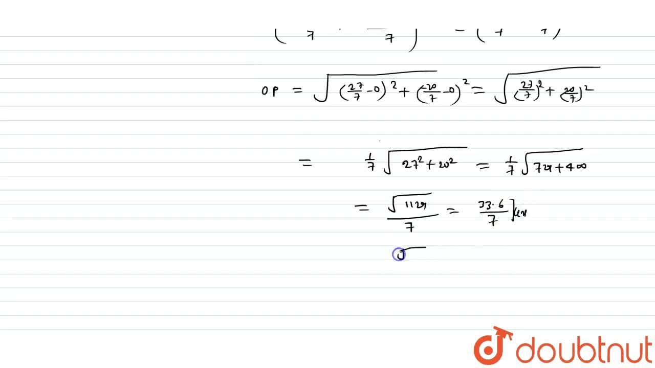 Find the distance of that point from the origin which divides the line segment joining the points (5, -4) and (3, -2) in the ratio 4:3.