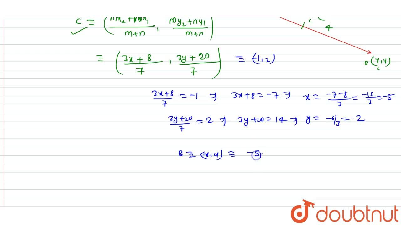 Solution for If the point C (-1, 2) divides internally the li