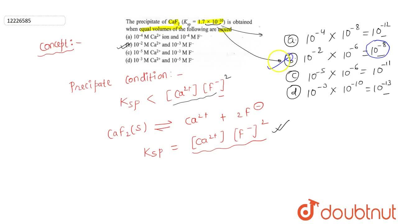 Solution for The precipitate of CaF_(2) (K_(sp)=1.7xx10^(-10))