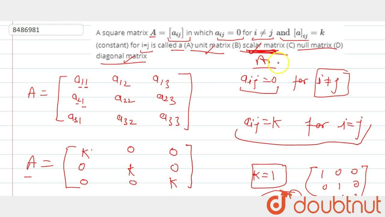 Solution for A square matrix A=[a_(ij)] in which a_(ij)=0 f