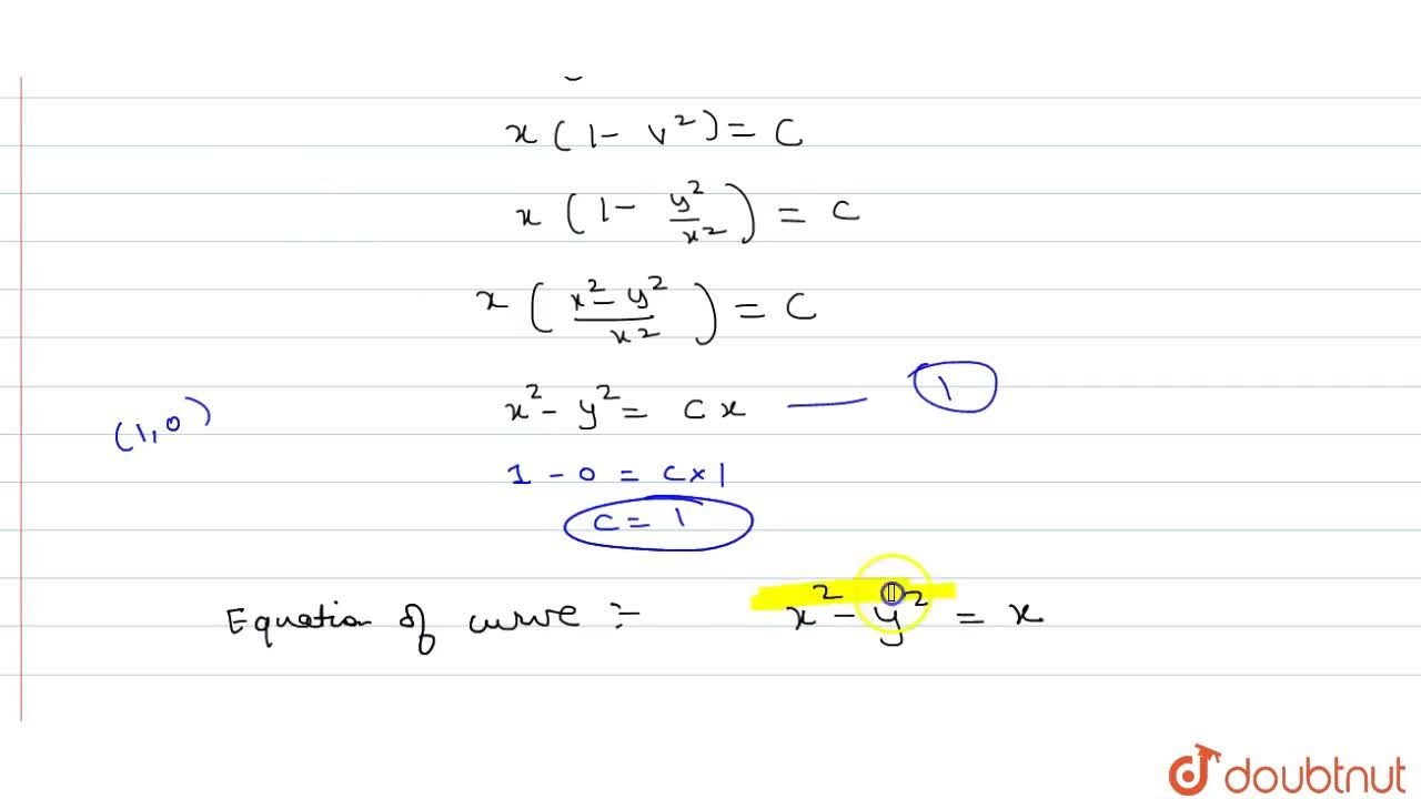 Find the equation of the curve which passes through (1,0) and the slope of whose tangent at (x,y) is (x^2+y^2),(2xy)