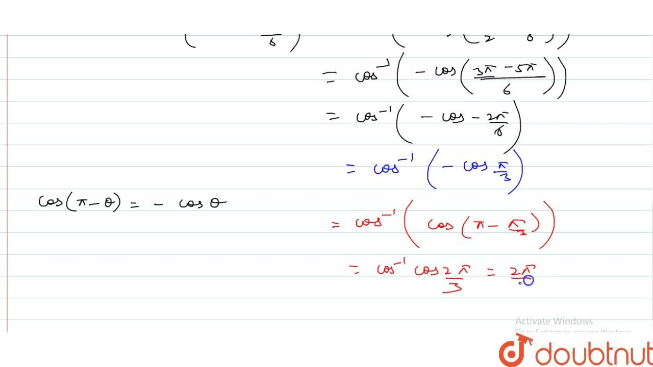 Solution for cos^-1 {-sin((5pi),6)}= (A) - (5pi),6 (B) (5p