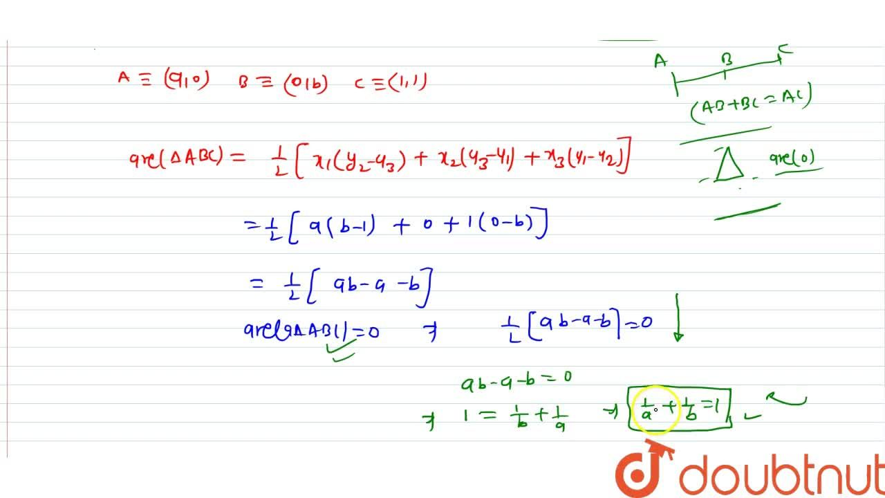 Solution for Show that the points (a, 0), (0, b) and (1, 1) a