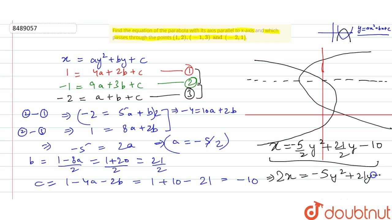 Solution for Find the equation of the parabola with its axis pa