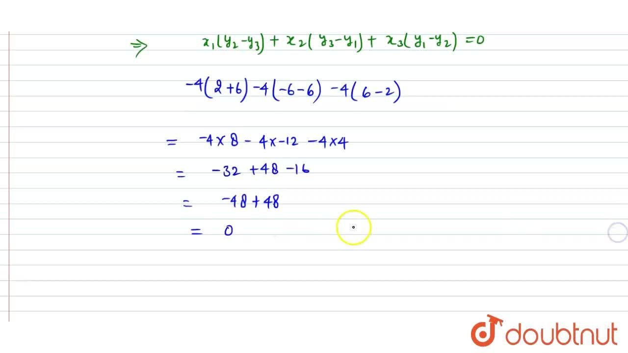 Solution for Show that the point P(-4,2) lies on the line seg