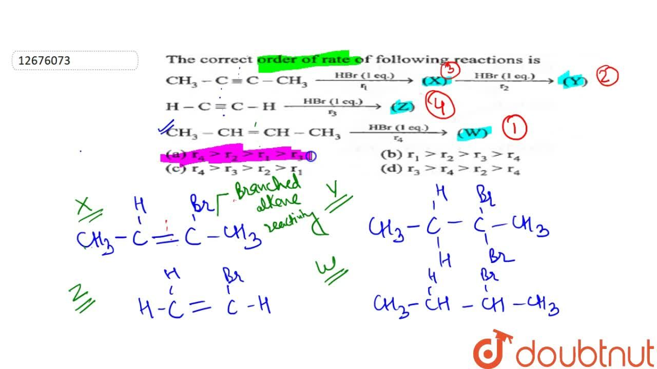 Solution for The correct order of rate of following reactions i