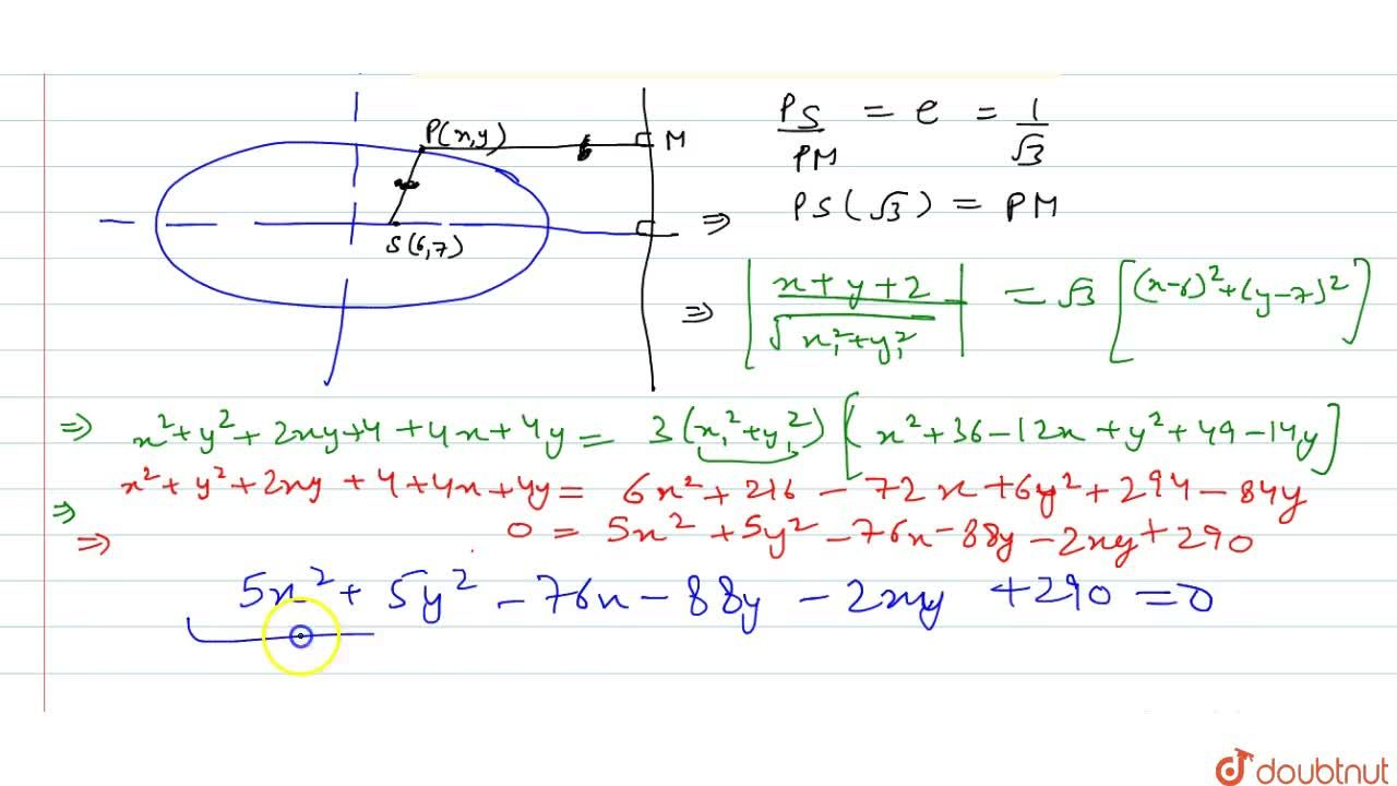 Solution for Find the equation of the ellipse whose : One focus