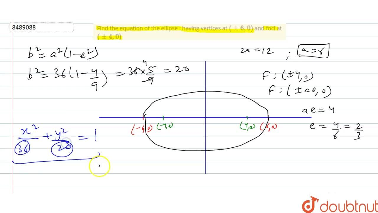 Solution for Find the equation of the ellipse : having vertices